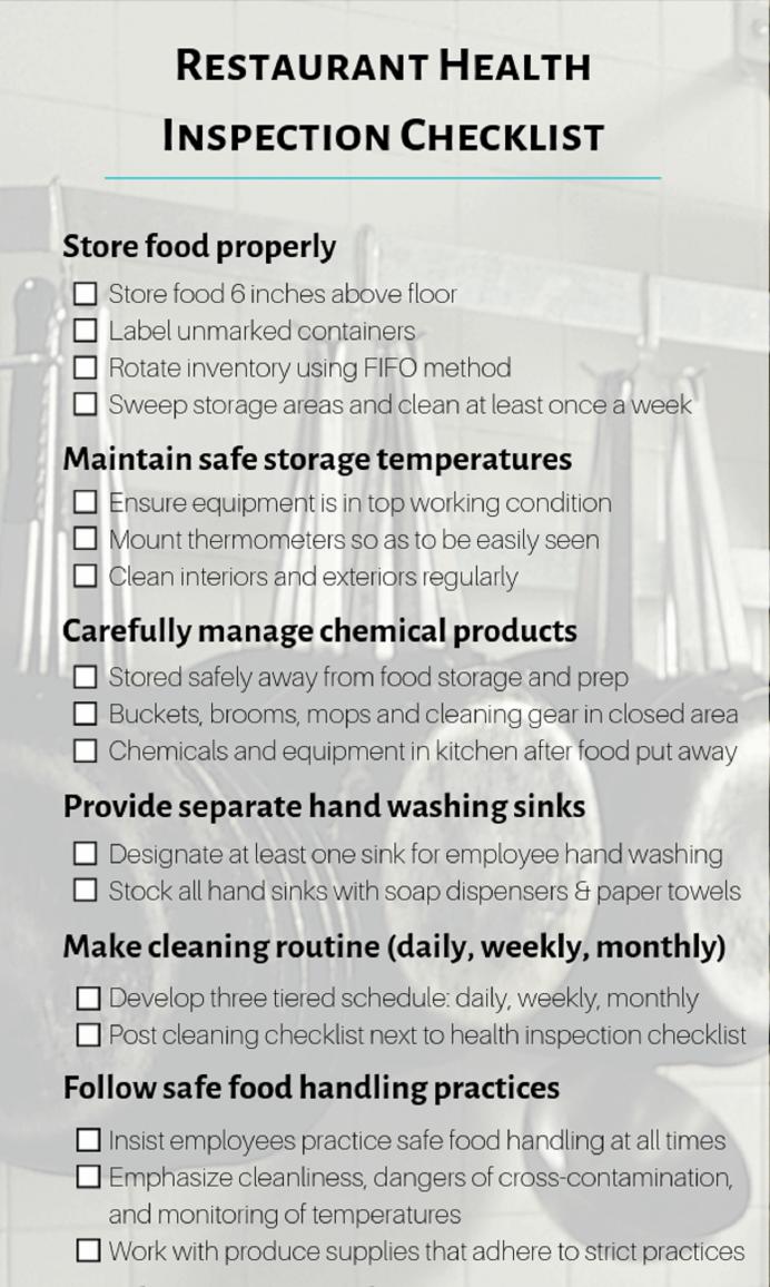 Restaurant Health Inspection Checklist PDF Template Sample And Safety Checklist, Pdf, Florida, Food California,