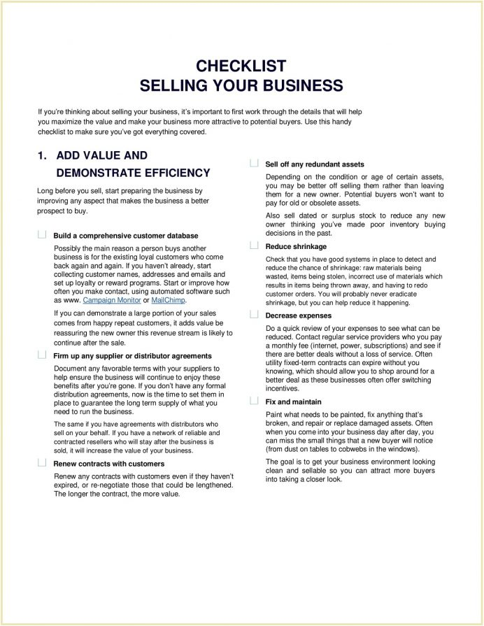 Selling Business Checklist Sample Template Your And Tips For A Business, Documents Needed To Sell Things Remember When Handover Checklist, Dummies Pdf,