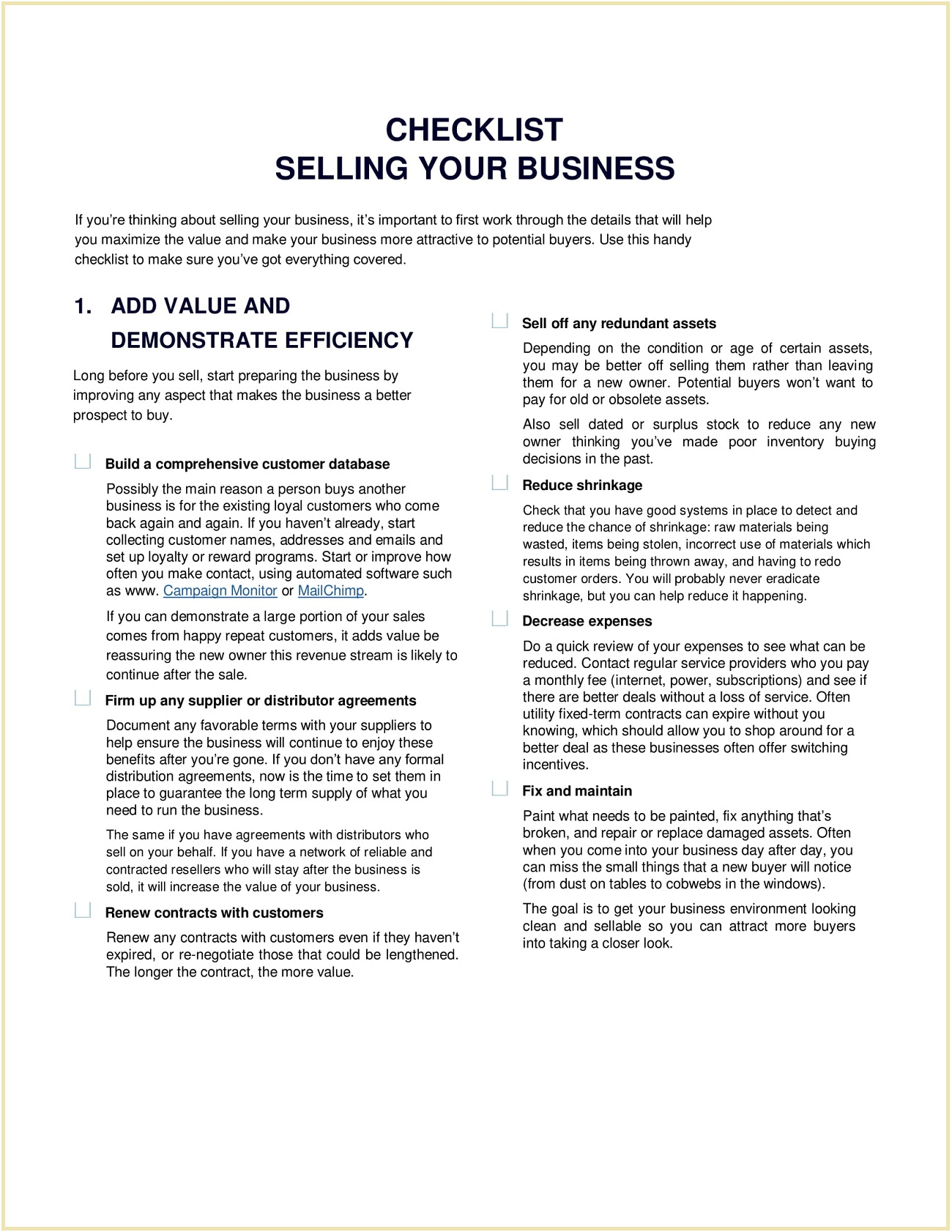 Selling Business Checklist Sample Template