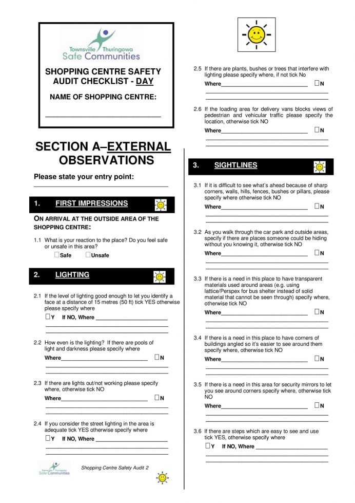 Shopping Center Safety Audit Checklist Template PDF Example Mall Cleaning Checklist, Maintenance Plan For Centre, Inspection Maintenance,