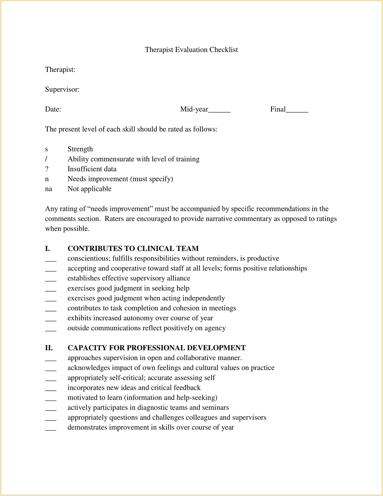 Therapist Evaluation Checklist Form Template PDF
