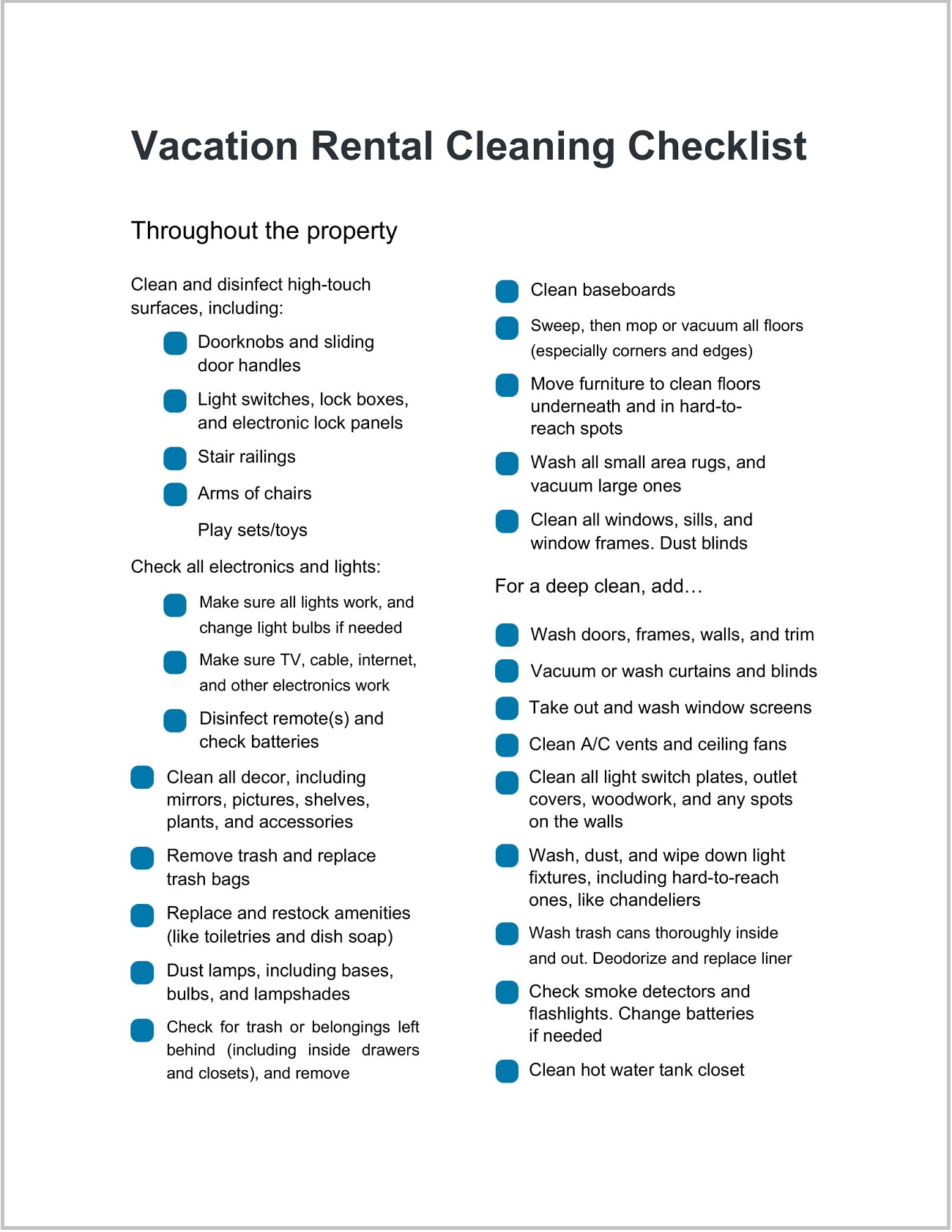 Form Vacation Rental Cleaning Checklist Template Word Doc
