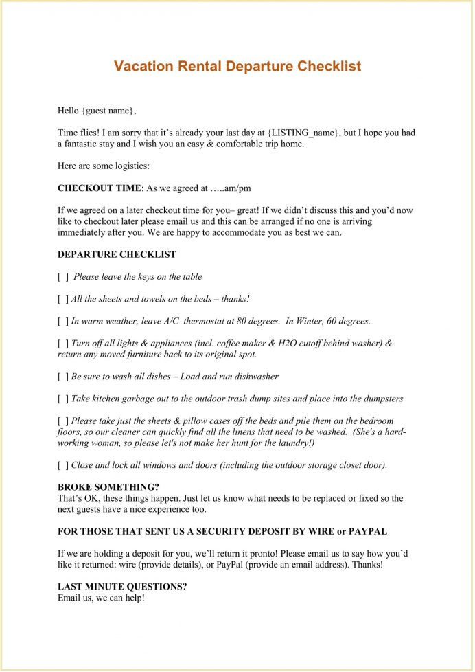 Vacation Rental Departure Checklist Word and Email Template Checklist Vacation Rental Departure Checklist Template Example