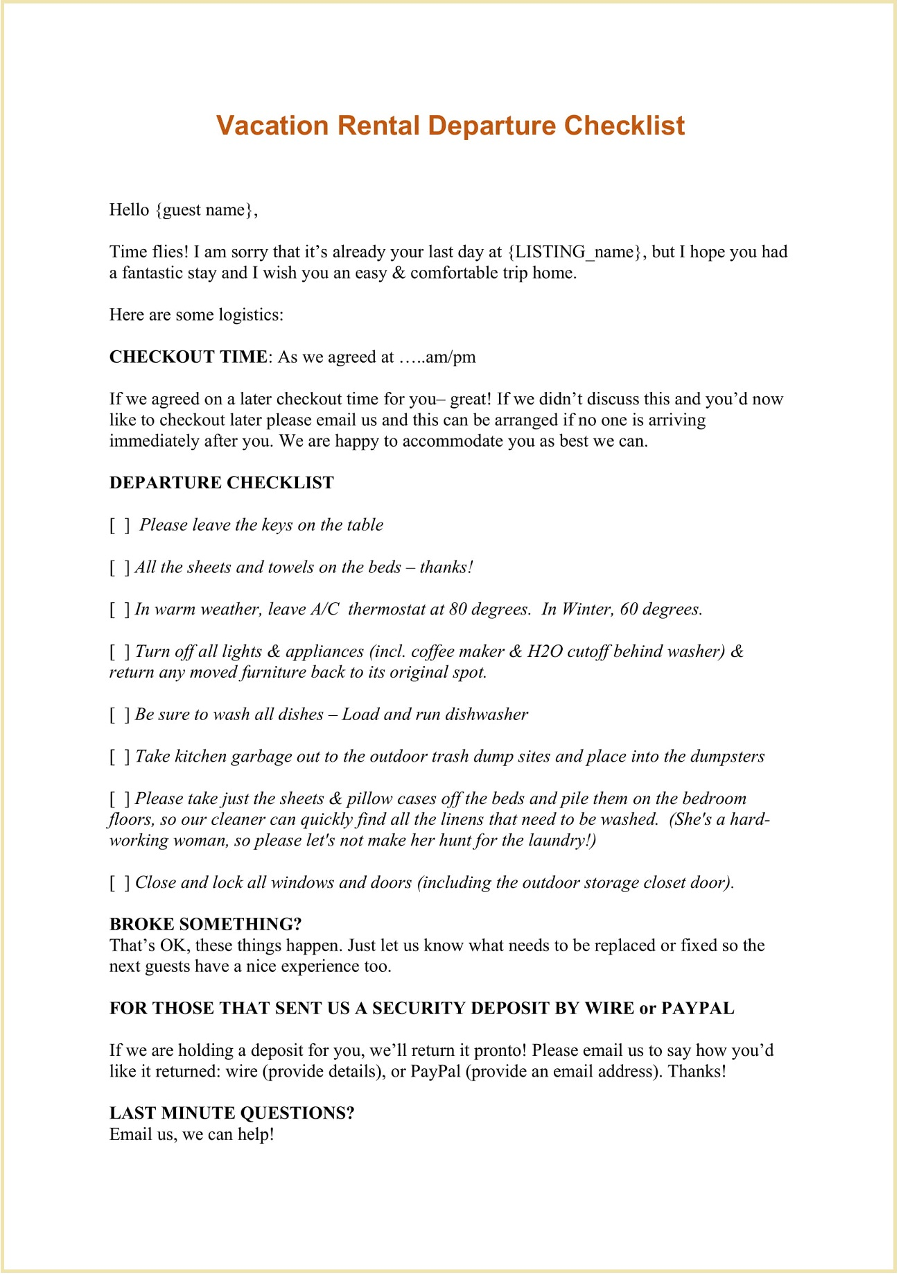 Vacation Rental Departure Checklist Word and Email Template