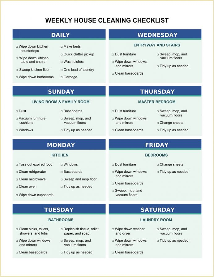 Weekly House Cleaning Checklist Template Word Checklist Sample Weekly House Cleaning Checklist Template