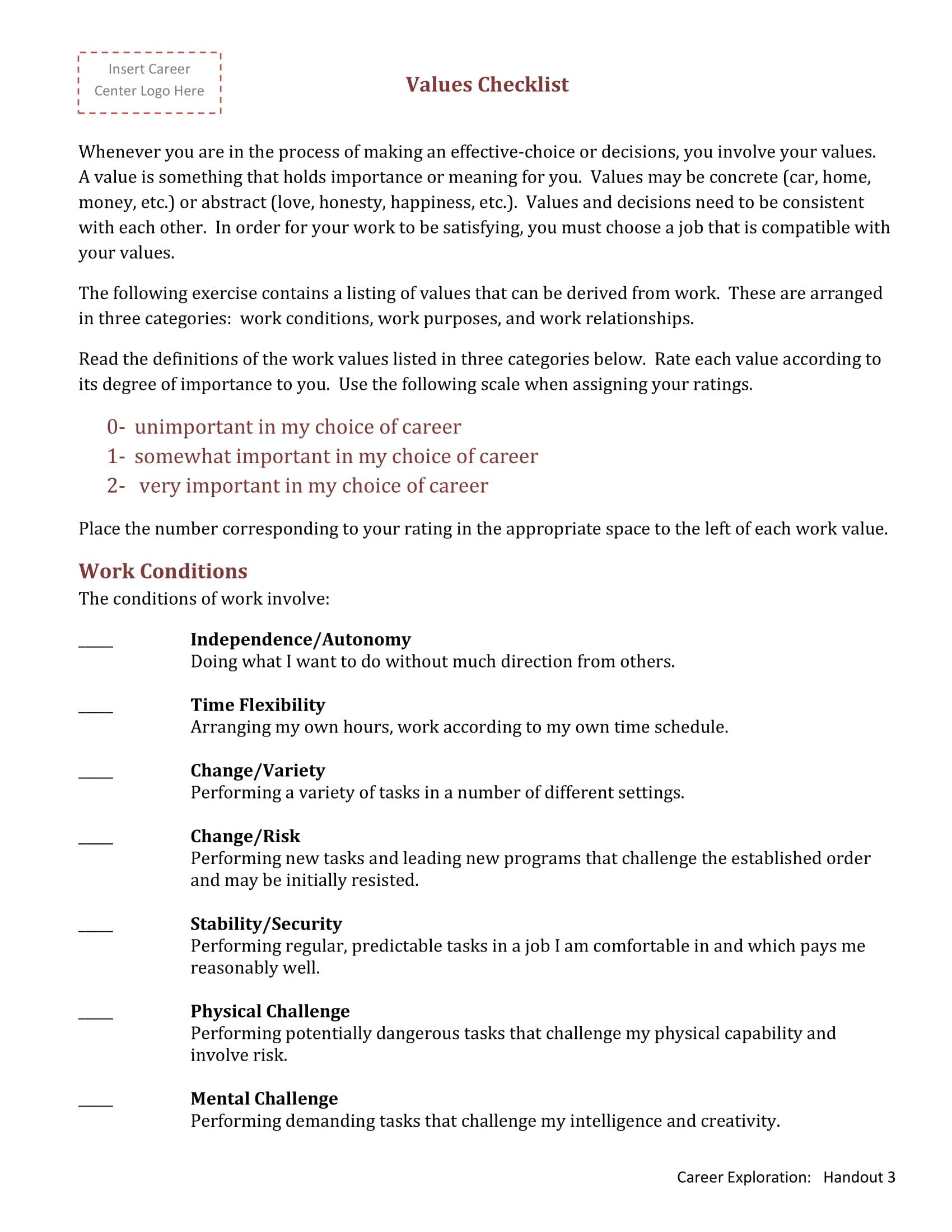 Form Work Values Checklist Template PDF