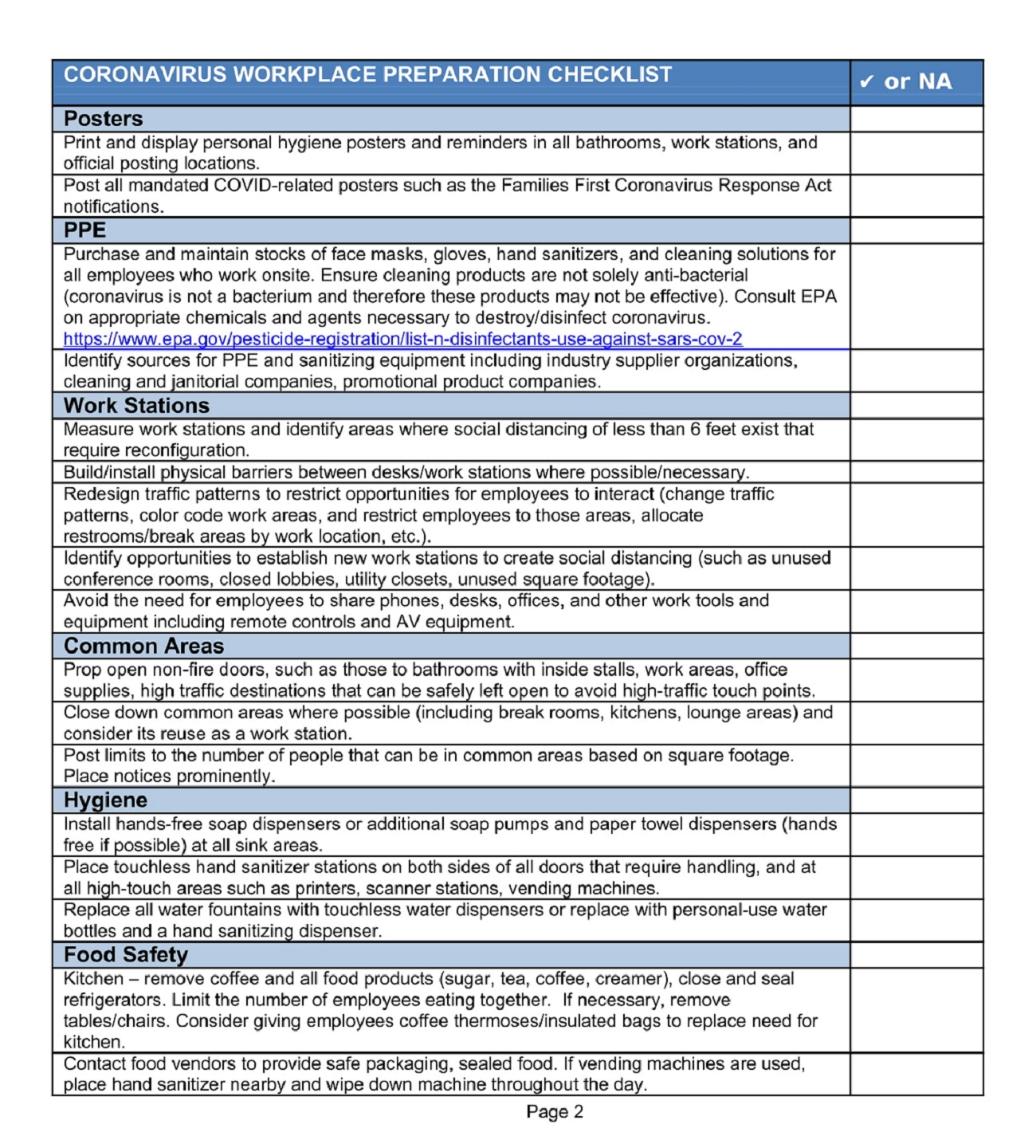 Workplace Checklist Covid 19 Template Word