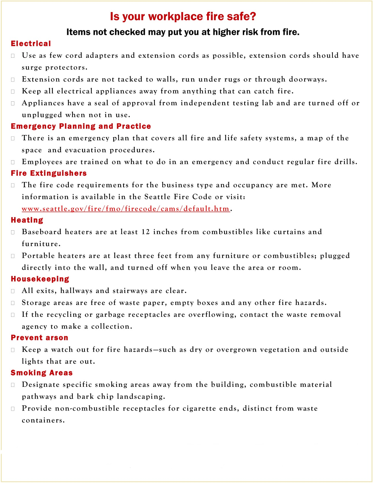 Workplace Fire Safety Checklist Template PDF