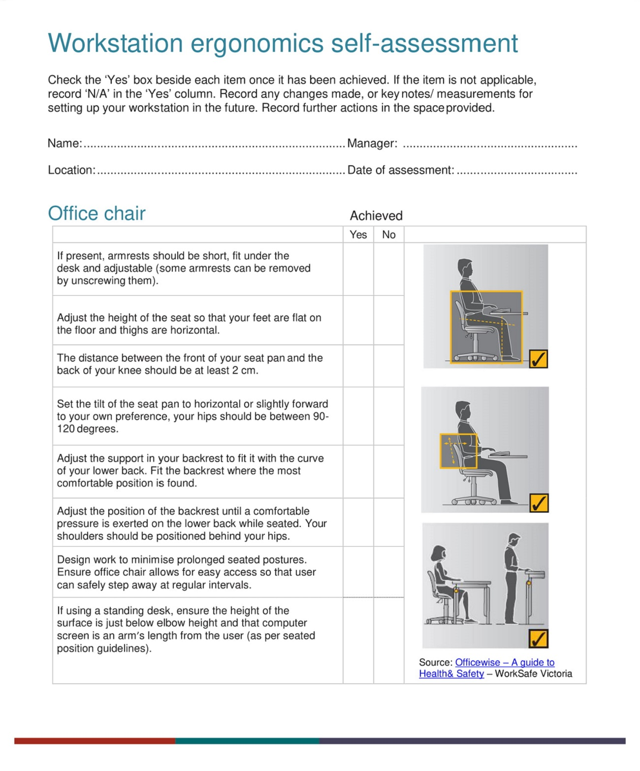 Workstation Ergonomics Assessment Checklist Template PDF