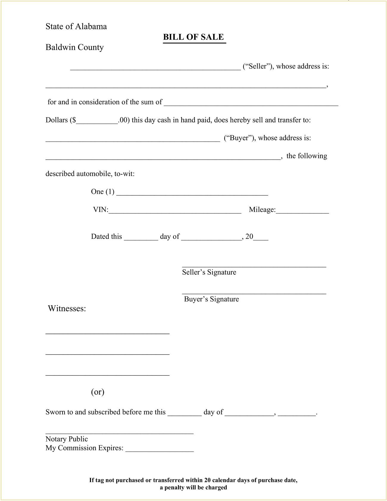 Baldwin County DMV Alabama Motor Vehicle Bill of Sale Form Template PDF