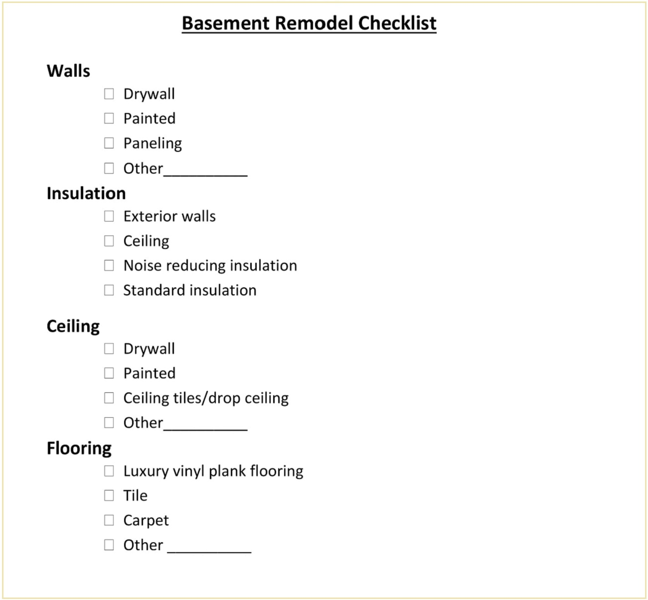 Basement Remodeling Project Checklist Template PDF