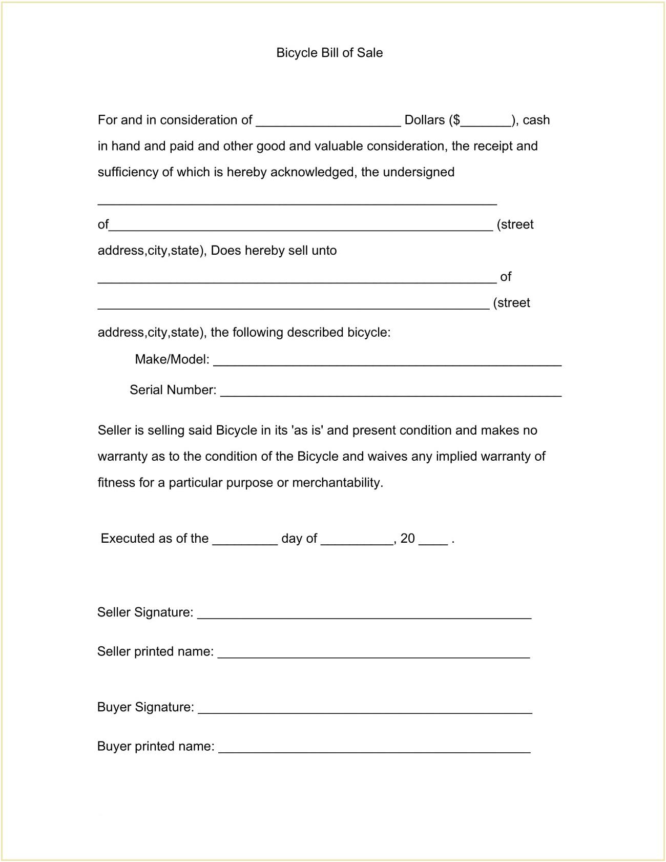 Bike Bill of Sale Format PDF