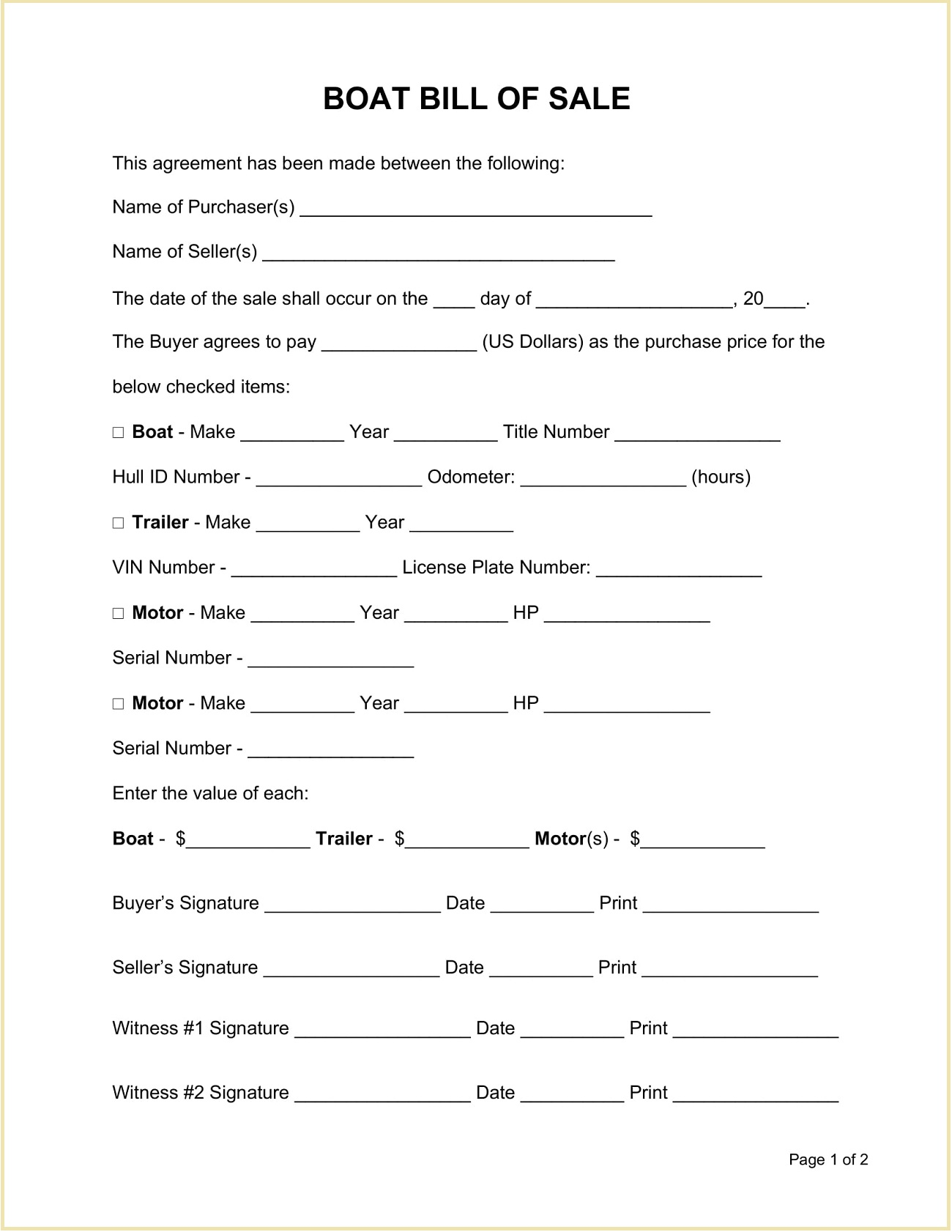Sample Boat Bill of Sale Form Word Doc