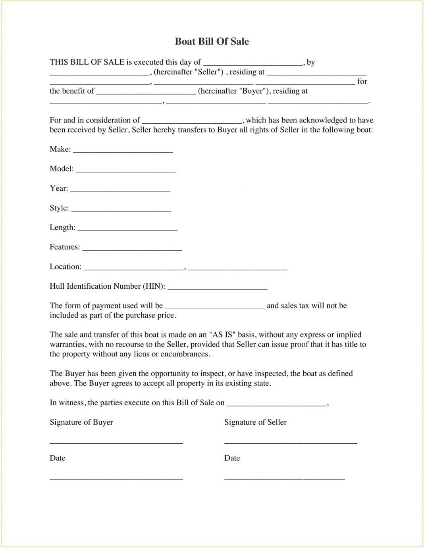 Boat Bill Of Sale Template PDF Free Pdf Canada Nc Alabama Texas Motor  Sample (Vessel) Form Large