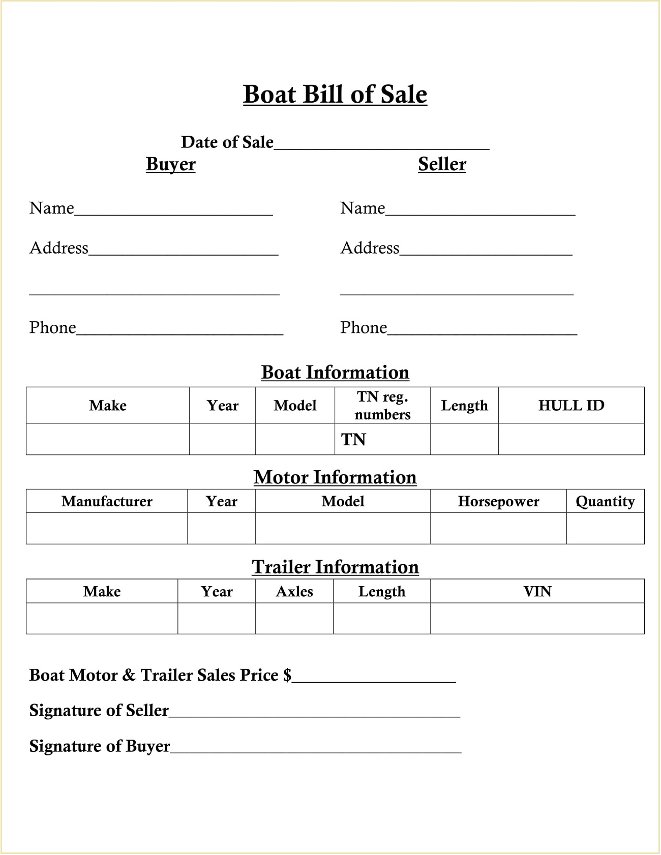 SImple Boat Motor Bill of Sale Sample PDF