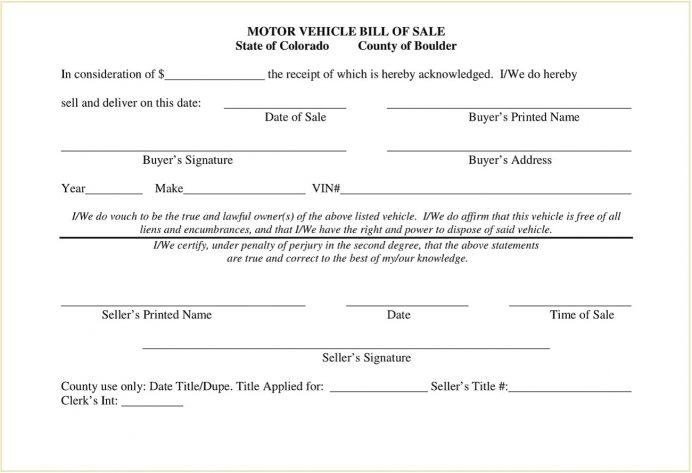 Boulder County Colorado DMV Motor Vehicle Bill of Sale Form PDF Bill Of Sale Colorado Motor Vehicle Bill of Sale Form Template