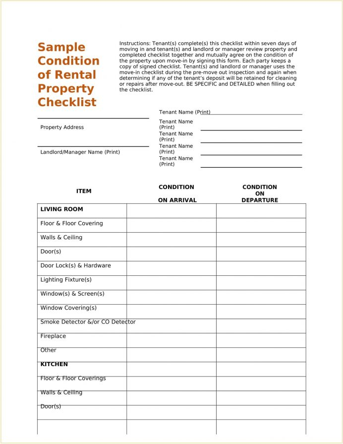 Sample Condition of Rental Property Checklist Template Word Doc Checklist Landlord-Tenant Condition of Rental Property Checklist template Sample