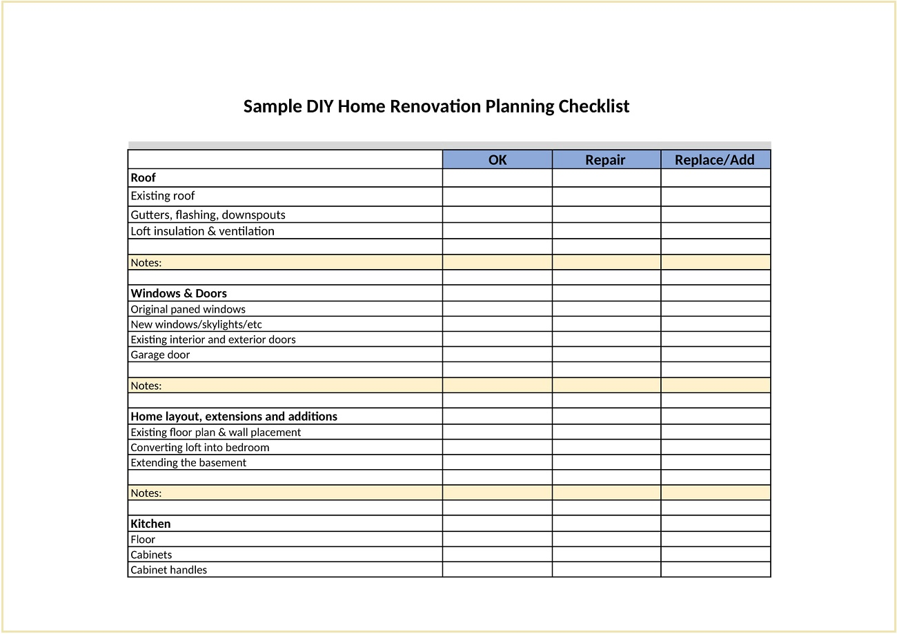 Sample DIY House Renovation Checklist Template Word Doc