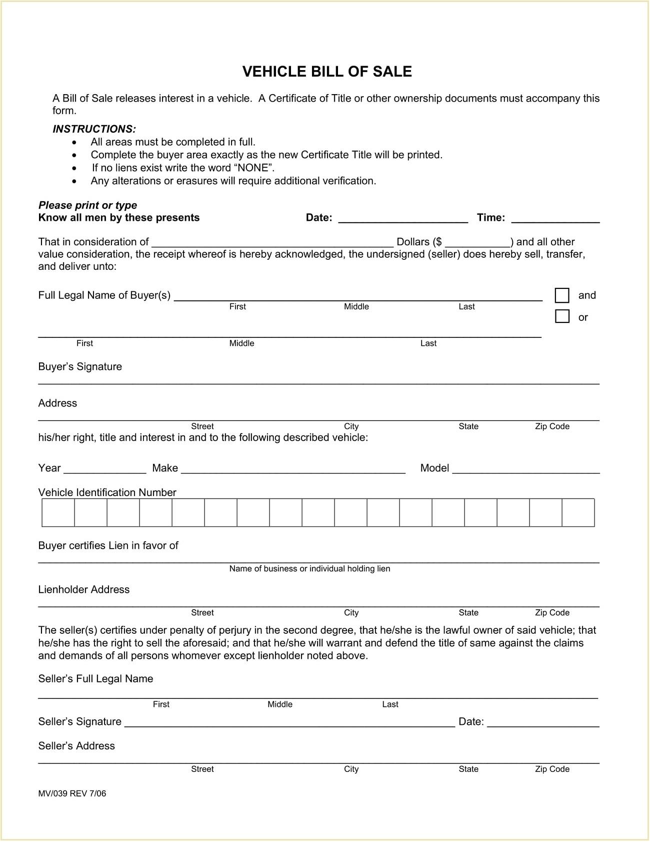 El Paso County Colorado DMV Motor Vehicle Bill of Sale Form PDF