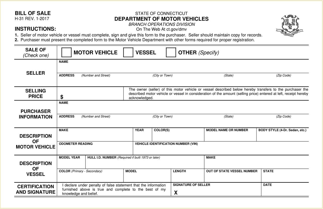 Form-H31 Connecticut Vehicle/Vessel Bill of Sale Template PDF