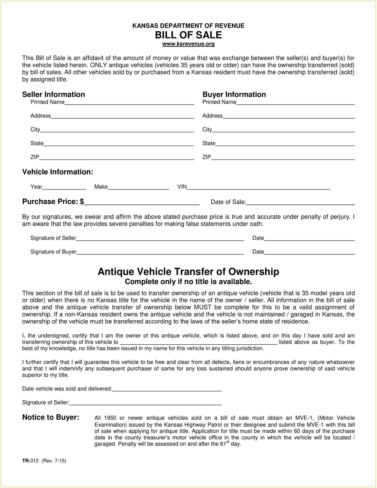 Form TR 312 Kansas Motor Vehicle Bill of Sale Template PDF