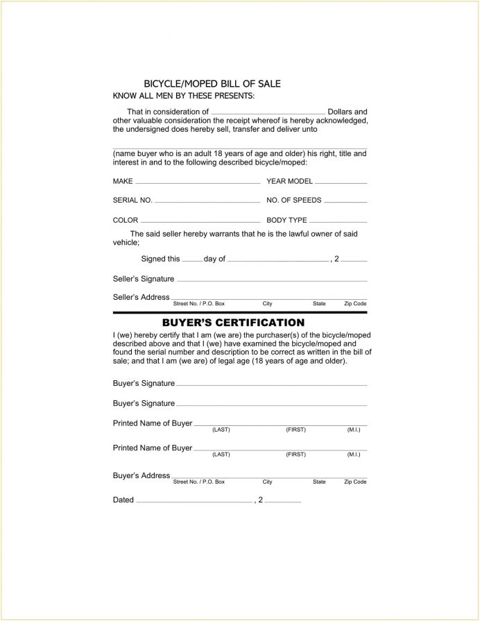 Free Bicycle Bill Of Sale Form PDF Simple For Bike Do You Need A Receipt Pdf Agreement Format In Word Motorcycle  Sample Template