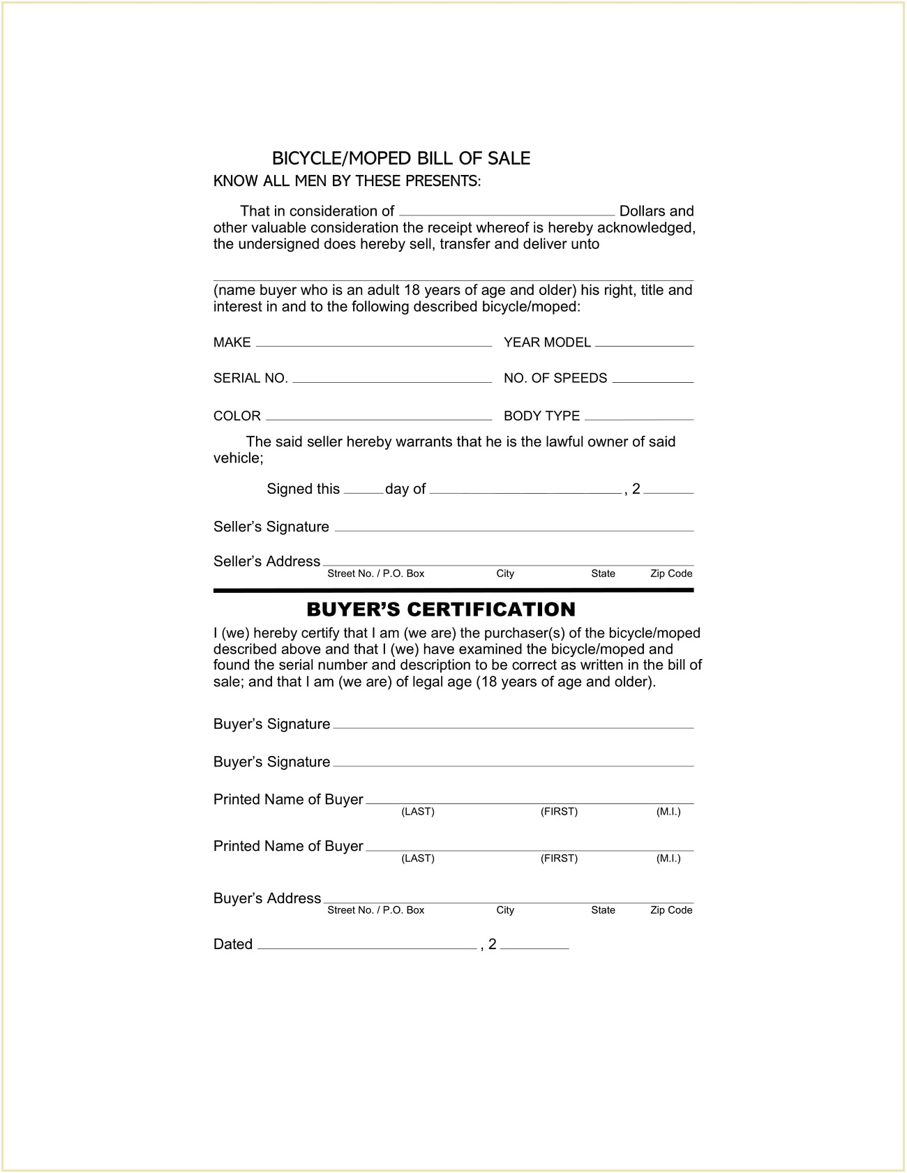 Free Bicycle Bill of Sale Form PDF