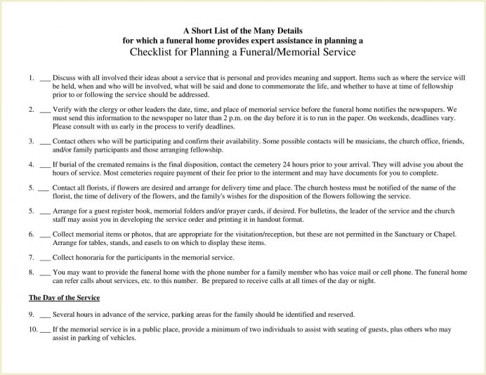 Sample Funeral And Memorial Service Checklist Template PDF Pdf Planning A Celebration Of Life Simple Ideas