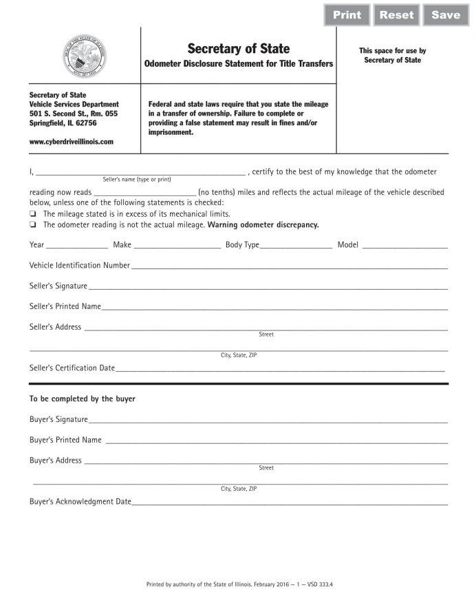 Illinois Form VSD 333.4 Odometer Disclosure Statement Bill Of Sale Illinois Motor Vehicle Bill of Sale Form Template