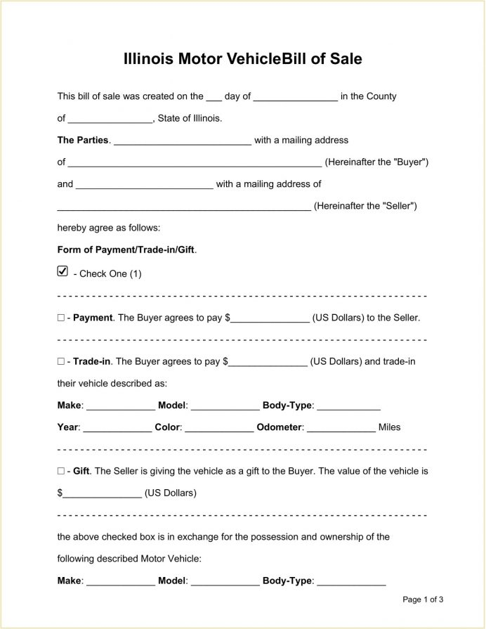 Illinois DMV Motor Vehicle Bill Of Sale Form Template Word Doc Notice Illinois, Does A Have To Be Notarized In For Trailer, Boat Junk Sale,