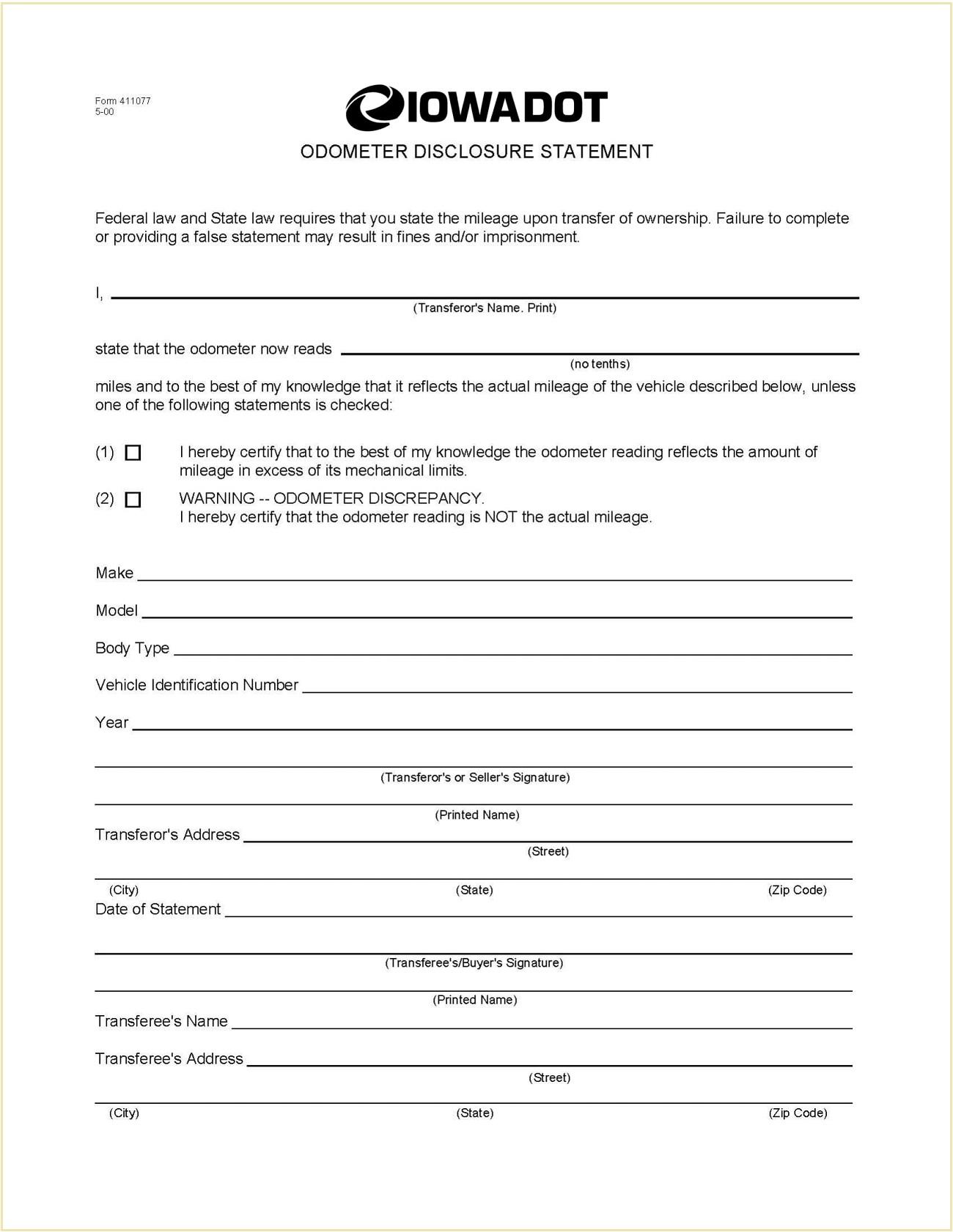 Iowa Form 411077 Odometer Disclosure Statement PDF