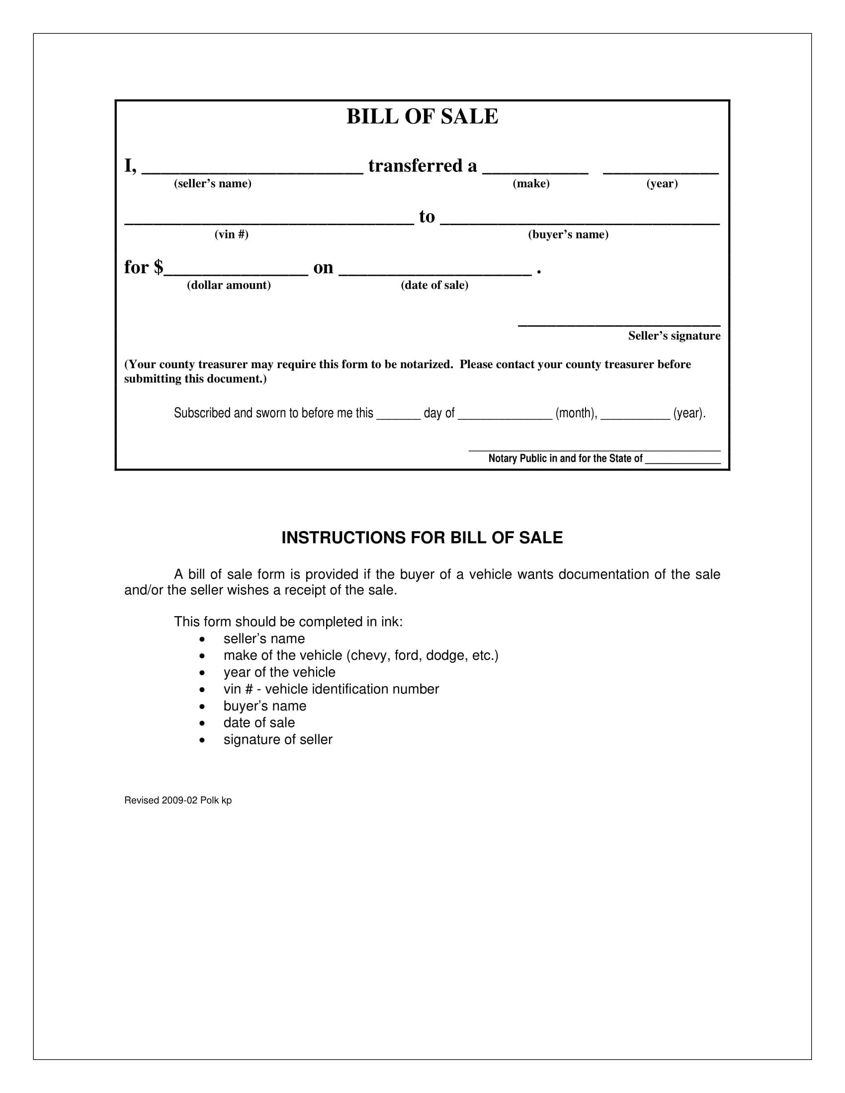 Iowa Motor Vehicle Bill of Sale Form Template PDF