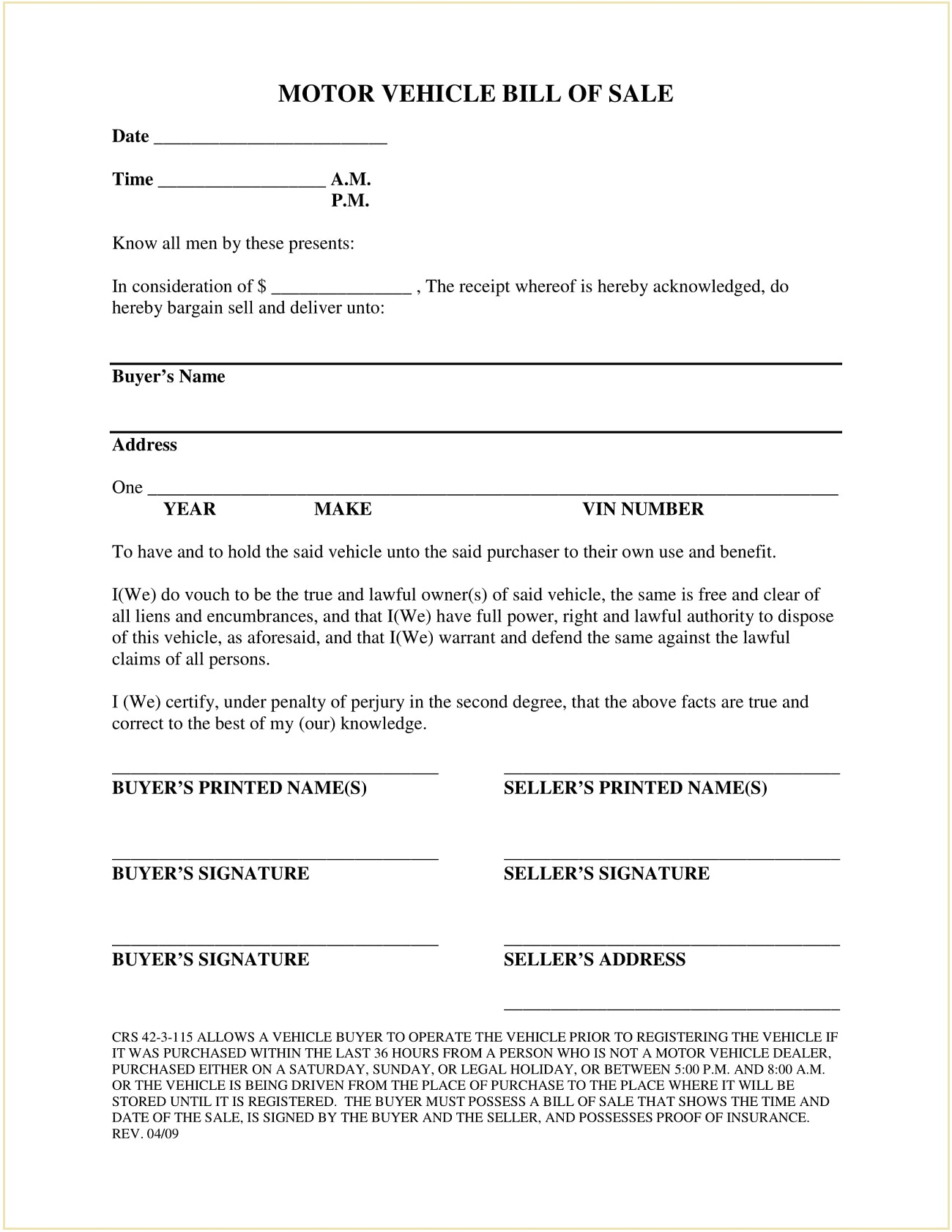 Jefferson County Colorado DMV Motor Vehicle Bill of Sale Form PDF