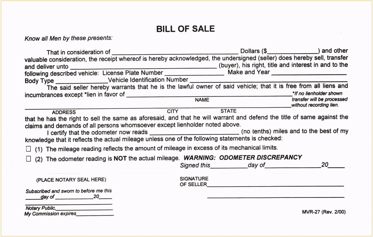 Kauai County Form MVR-27 Hawaii Motor Vehicle Bill of Sale Template PDF