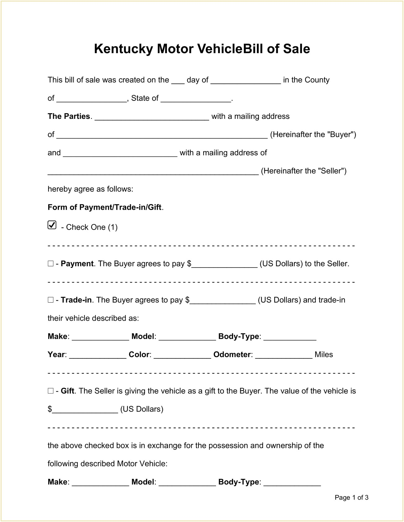 Kentucky Motor Vehicle Bill of Sale Form Template Word Doc