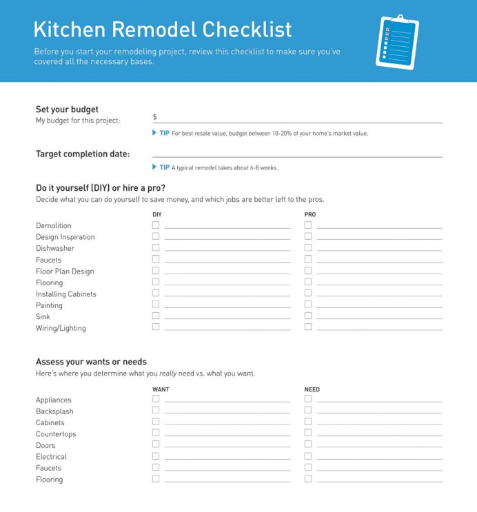 Sample Kitchen Remodeling Project Checklist Template PDF Checklist Sample Kitchen Remodeling Checklist Template