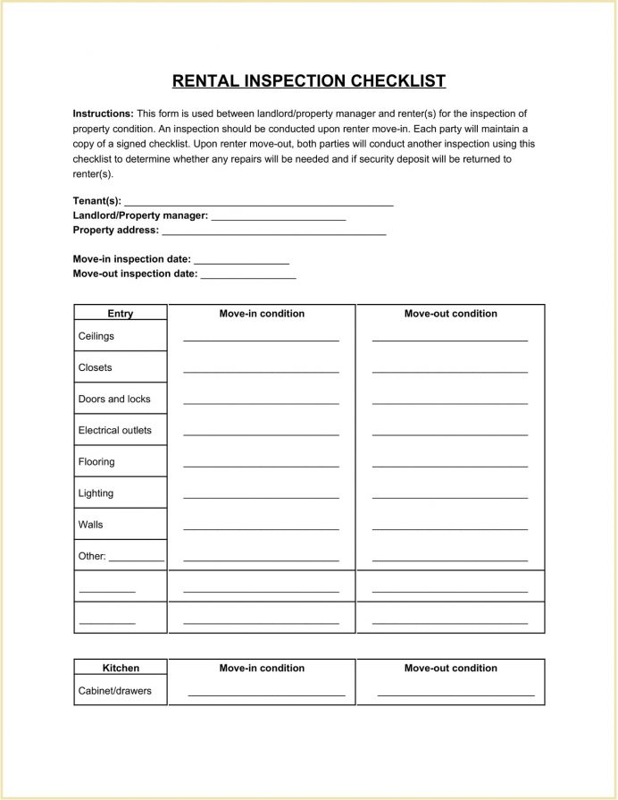 Sample Landlord Rental Inspection Checklist Template Word Periodic For Units Pdf Property South Africa Tenant Move-out Editable  Landlords