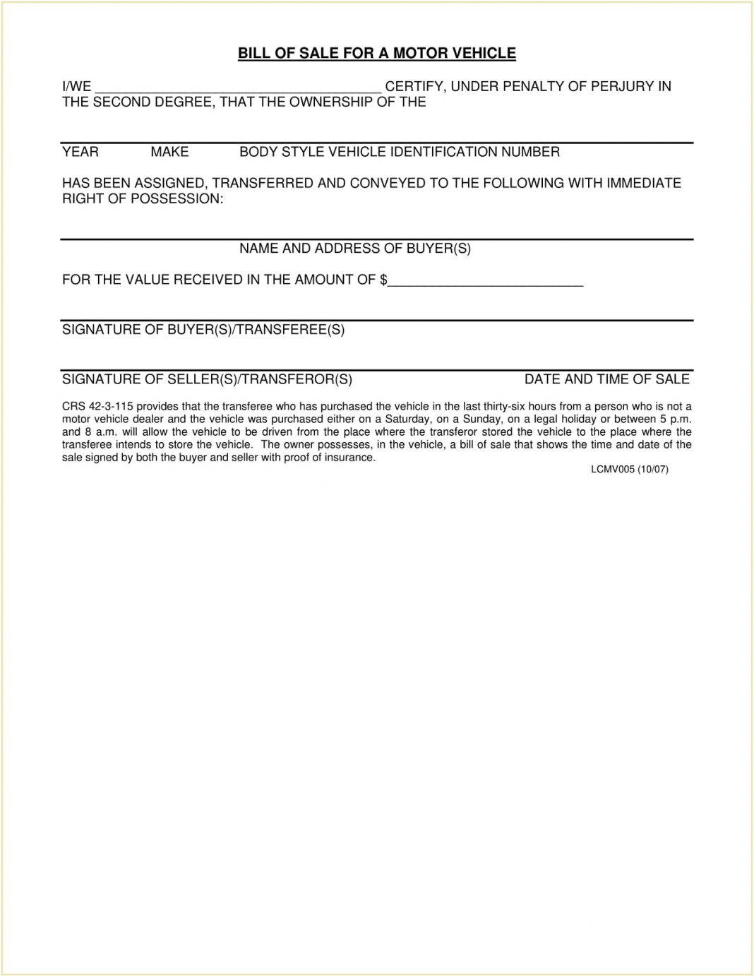 Larimer County Colorado DMV Motor Vehicle Bill Of Sale Form PDF Adams Is A Required In Selling Car General Mesa  Template Large