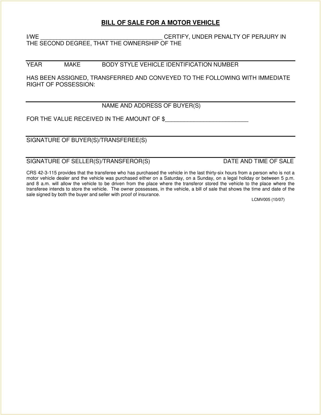 Larimer County Colorado DMV Motor Vehicle Bill Of Sale Form PDF Adams Is A Required In Selling Car General Mesa  Template Full