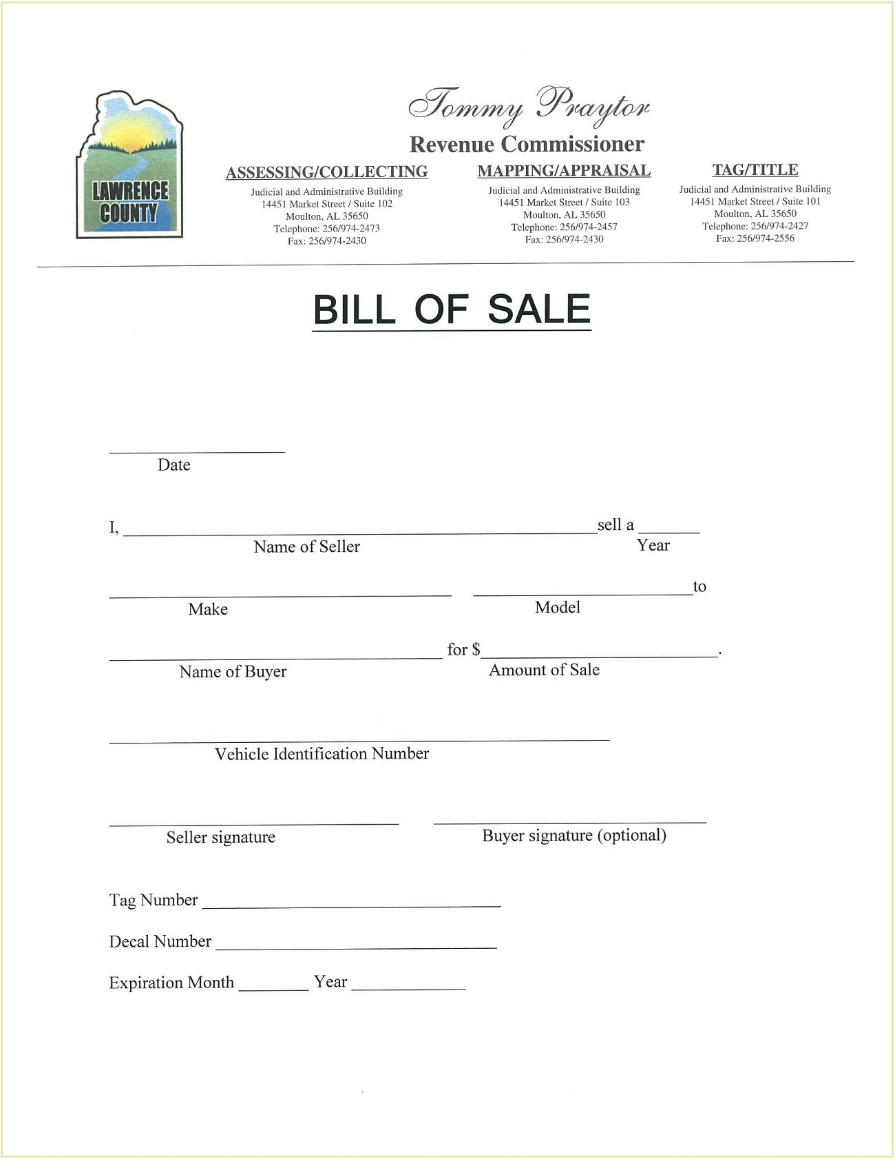 Lawrence County DMV Alabama Motor Vehicle Bill of Sale Form Template PDF
