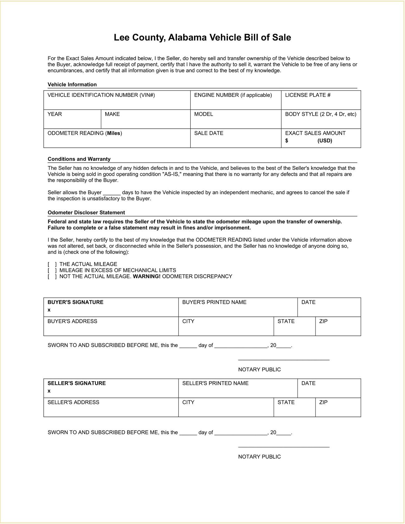 Lee County DMV Alabama Motor Vehicle Bill of Sale Form Template Word