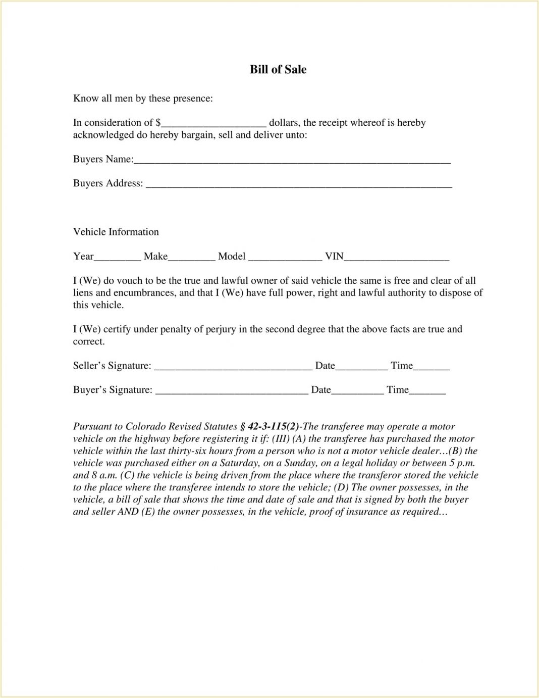 Mesa County Colorado DMV Motor Vehicle Bill Of Sale Form PDF Adams Is A Required In Selling Car General  Template Large