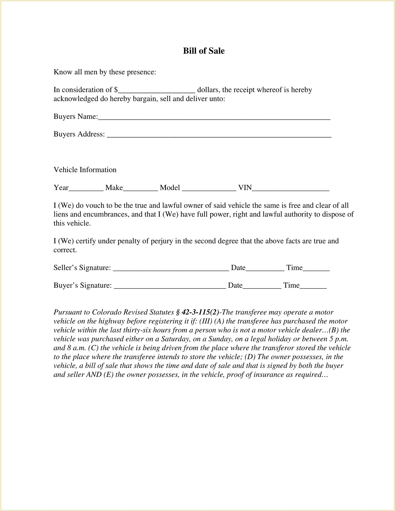 Mesa County Colorado DMV Motor Vehicle Bill Of Sale Form PDF Adams Is A Required In Selling Car General  Template Full