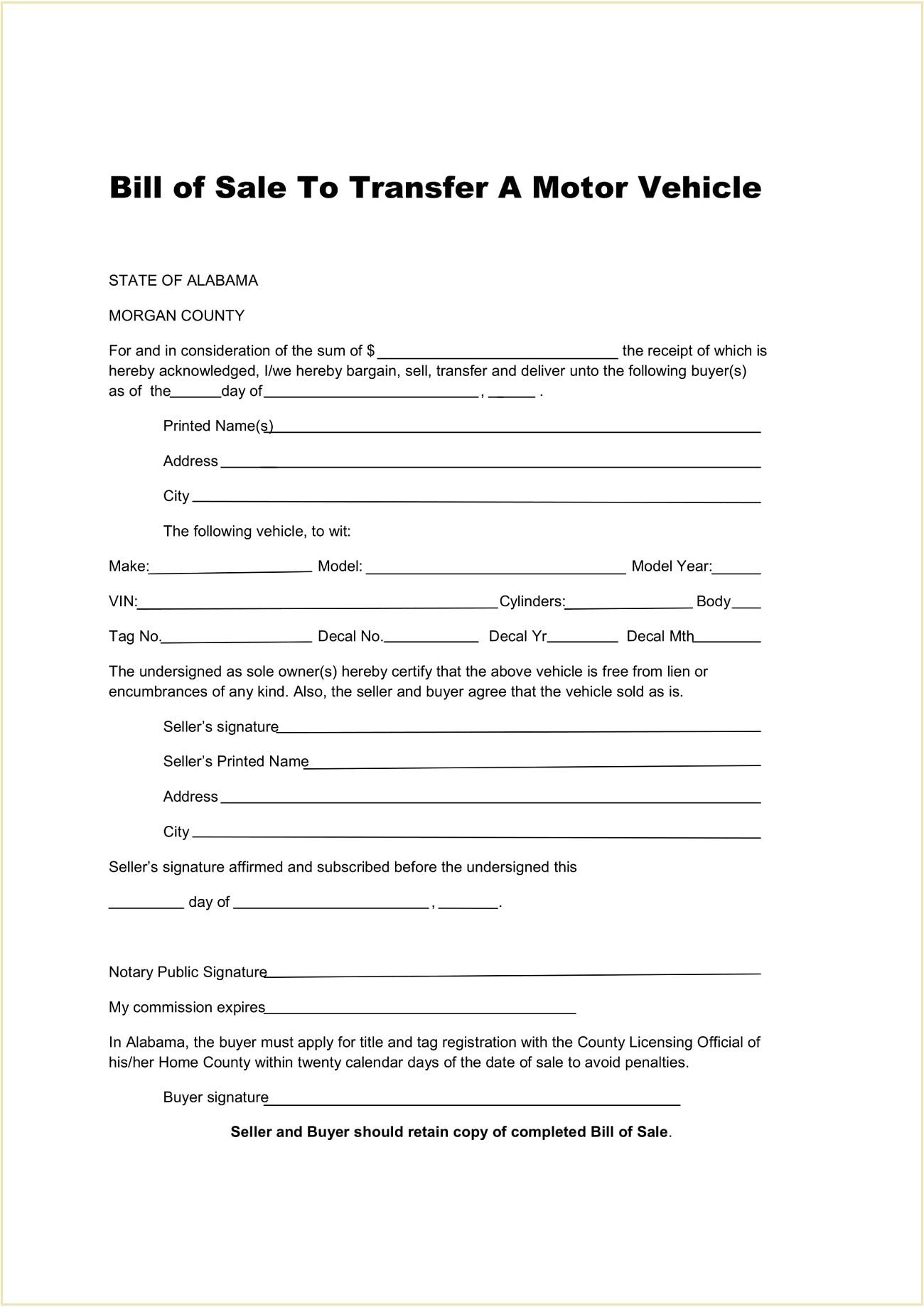 Morgan County DMV Alabama Motor Vehicle Bill of Sale Form Template PDF