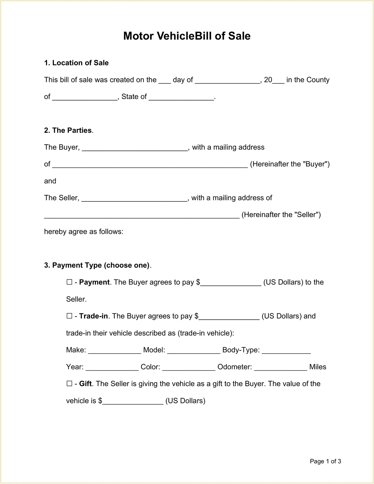 Sample Motor Vehicle Bill of Sale Form Template Word Doc