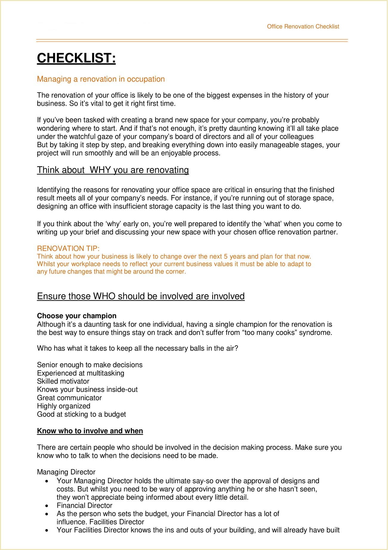 Office Renovation Checklist Template PDF