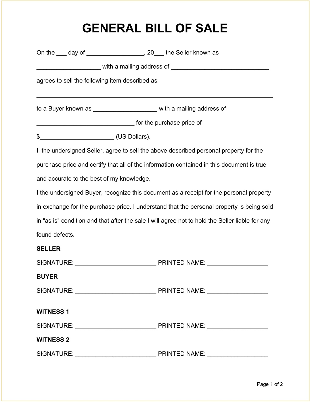Sample General Personal Property Bill of Sale Form Template Word Doc