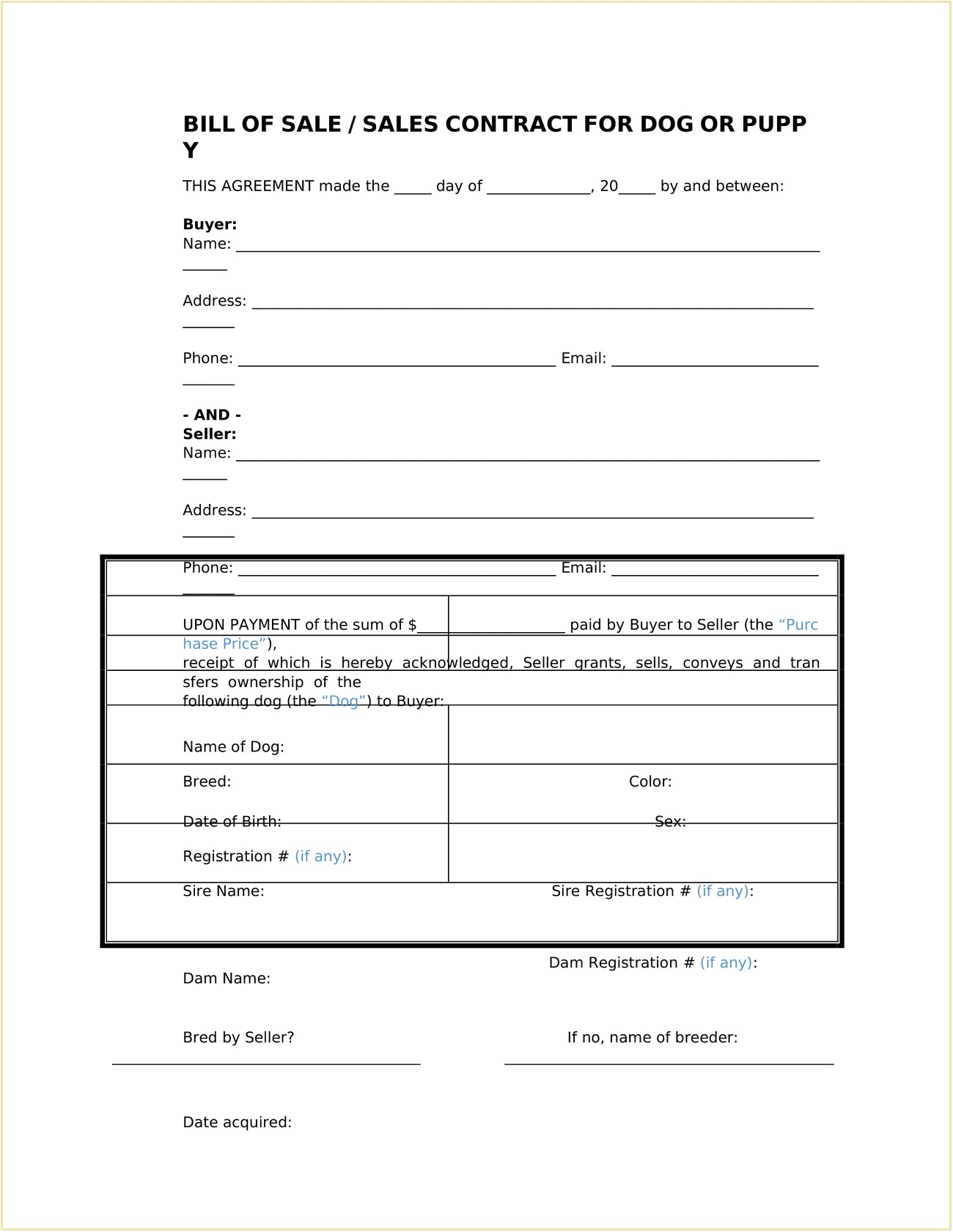 Puppy Bill of Sale Form Word Doc Template