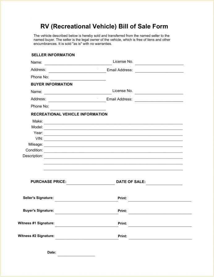 Recreational Vehicle (RV) Bill of Sale Form Template PDF Bill Of Sale Recreational Vehicle (RV) Bill of Sale Form Template Example
