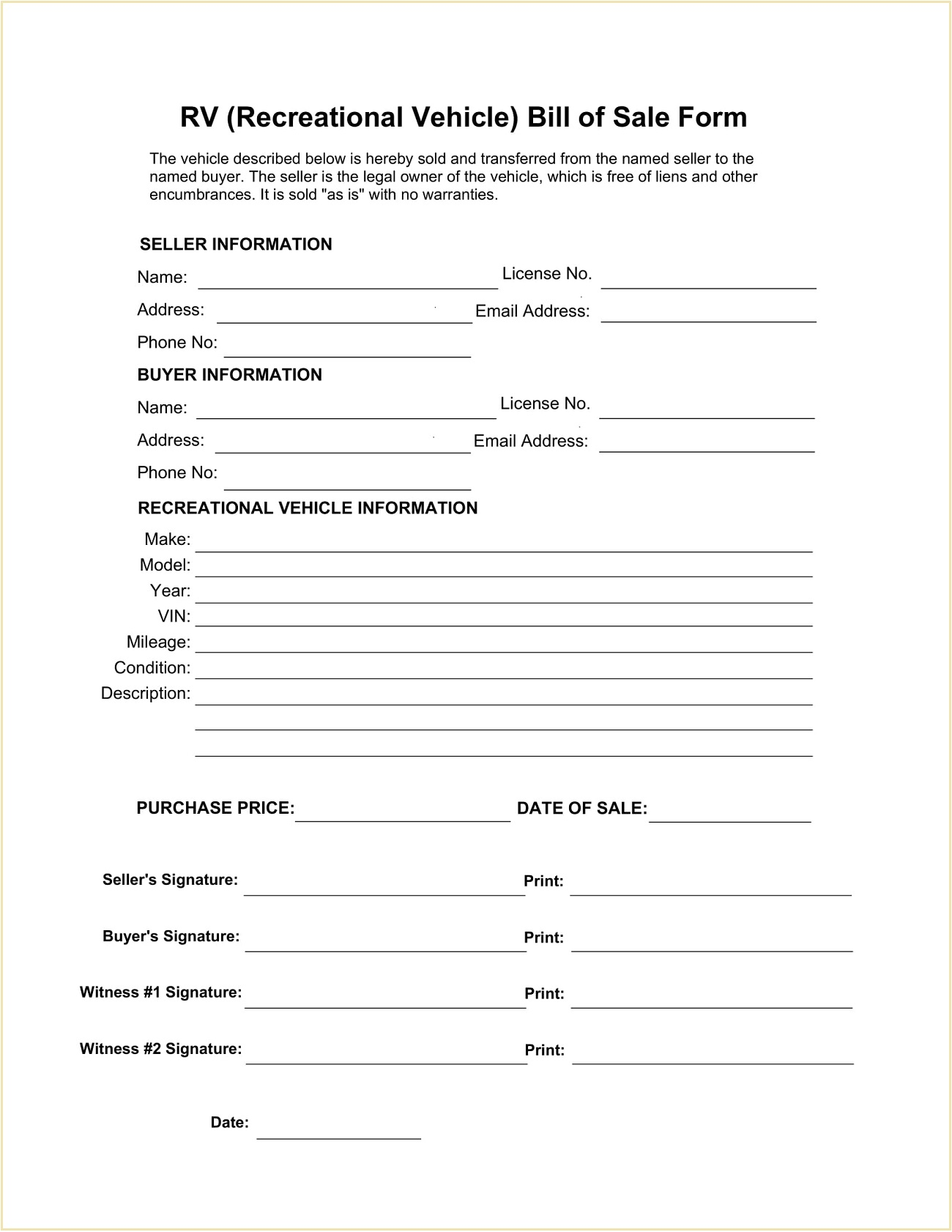 Recreational Vehicle (RV) Bill of Sale Form Template PDF
